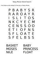 Baby Moses Word Search