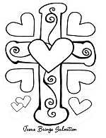Cross with heart coloring poster