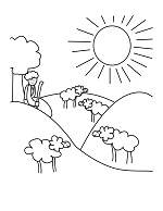 david and sheep free coloring page