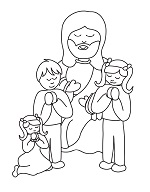 jesus praying free coloring page
