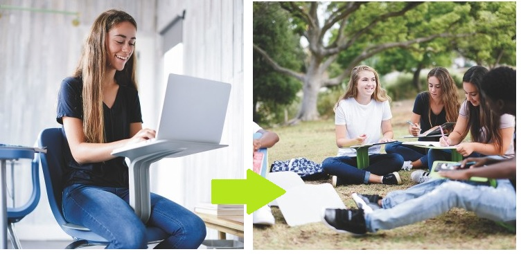 mobile chairs and desk for 21st century classroom